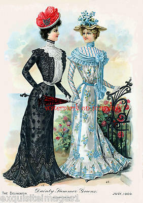 1900 Fashions~Delineator~Summer Gowns NEW Lg Note Cards