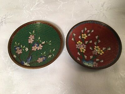 2x Small Cloisonne Saucer (Old Asia Chinese China Green Red Flower Enamel Plate)