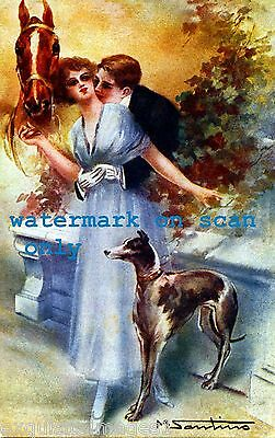 Antique Image~Romantic Couple w Horse and Whippet Dog NEW Large Note Cards