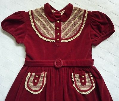Vintage Girl's Dress Little Star Velvet Maroon Antique 30/40s Costume Christmas