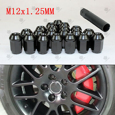 20x Black Lug Nuts Extended Racing Wheel Rim M12x1.25mm With Key Tool for Nissan
