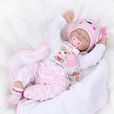22'' Realistic Reborn Baby Doll Full Body Silicone Vinyl Handmade Sleeping Girl