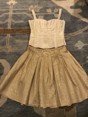 New Year Holiday Party Outfit Bebe Gold Brocade Skirt Sz 4 And Bustier Top Sz S