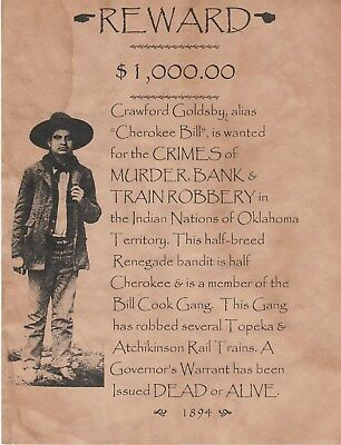 Old West Wanted Posters Indian Outlaw Bandit Rob Bank Cowboy Western Outlaw Law