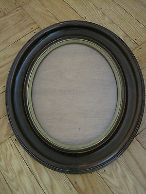 ANTIQUE 19th Century OVAL  PICTURE FRAME w Brass Liner