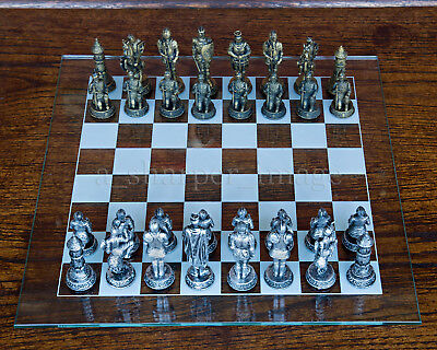"Medieval Knights Chess Set with Glass Board Metallic Gold vs Silver NEW 3"" Kings"