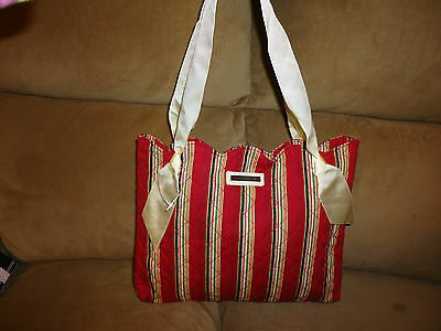 Longaberger Quilted Holiday Stripe Ribbon Handle Tote Bag Purse--NEW-SALE!
