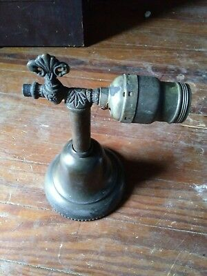 Vtg Antique victorian wall sconce brass light fixture gas electric