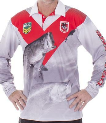 NRL Long Sleeve Fishing Polo Tee Shirt - St George Illawarra Dragons - XS To 4XL