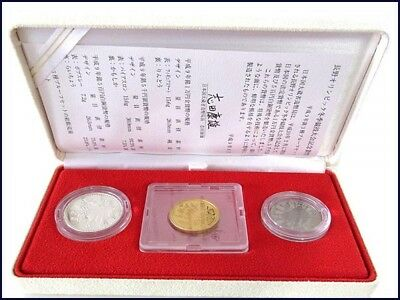 Japan Gold Coin Nagano Olympic 3 coins Proof Set,1997 Second Isuue,Very Valuable