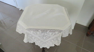 Exquisite Vintage Cream Linen with wide Cream Filet Crochet Edging Tablecloth