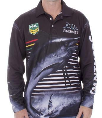 NRL Long Sleeve Fishing Polo Tee Shirt - Penrith Panthers - Adult Youth - Fish