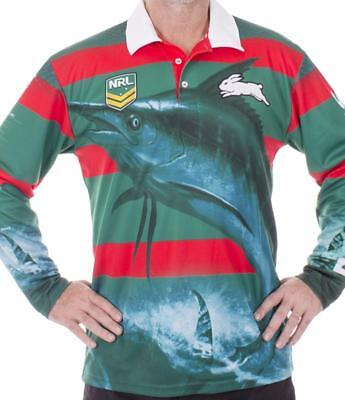 NRL Long Sleeve Fishing Polo Tee Shirt - South Sydney Rabbitohs - Adult Youth