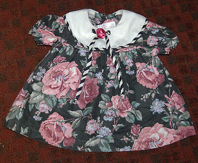 "VINTAGE USA ""ALLISON ANN"" LITTLE GIRL'S OR DOLL FLORAL ROSE  DRESS 60's? COTTON"