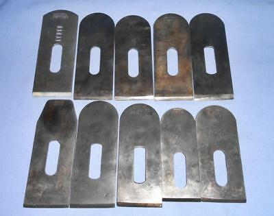10 Lot Assorted Vtg Stanley Block Plane Blades for Parts Repair Antique Tools