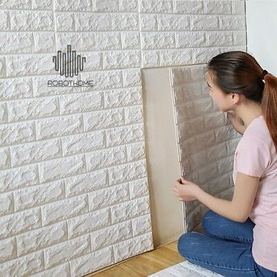 PE Foam 3D Self Adhesive Wall Stickers DIY Home Decor Wallpaper Embossed Brick