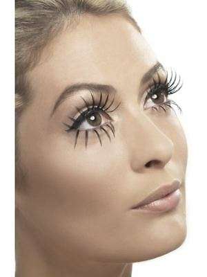 2263c103d0c Smiffys Eyelashes, Top and Bottom Set, Long, Black, Contains Glue - Female