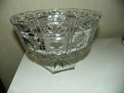 Large Antique Heavy Cut Crystal American Brilliant Pedestal Bowl Victorian