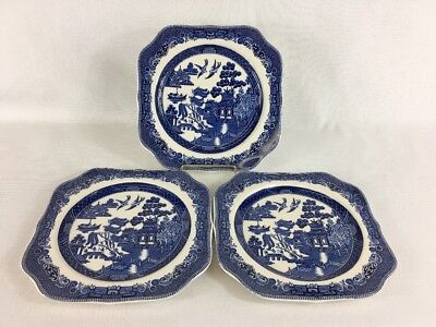 Square Salad Plates - Willow Blue Johnson Brothers Made in England Vintage (3)