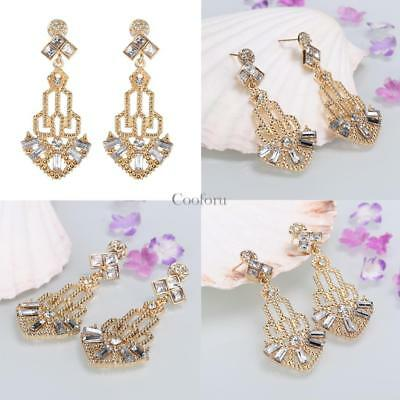 1920s Vintage Style Rhinestone Hollow Out Dangle Earrings CO99