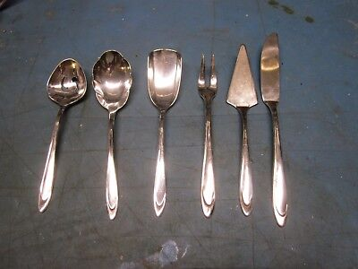Genuine Set Lot of 6 Matching Meriden Silverplate Serving Pieces First Lady