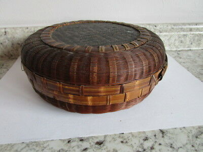 Victorian Chinese 10' Sewing Wicker Basket with Lid & woven bottom design