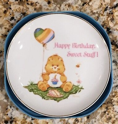 Vintage Care Bears Plate Happy Birthday Porcelain Plate American Greetings 1984