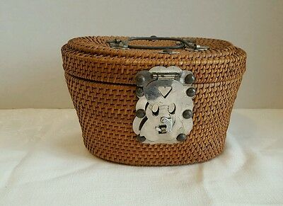 Chinese Woven Basket With Fish Closure