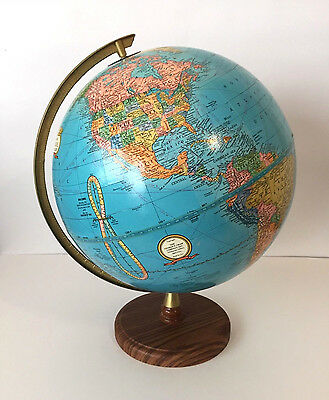 "CRAM'S IMPERIAL WORLD GLOBE 12"" Blue  BRONZE FRAME & WOOD STAND"