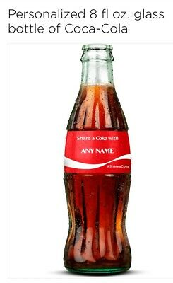 Custom ANY NAME Coca Cola GLASS bottle Share a Coke Personalized - FULL