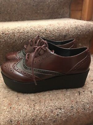 Outsider By 67 Platform Brogues Size 5 Brown Shoes Rockabilly Creeper Hipster