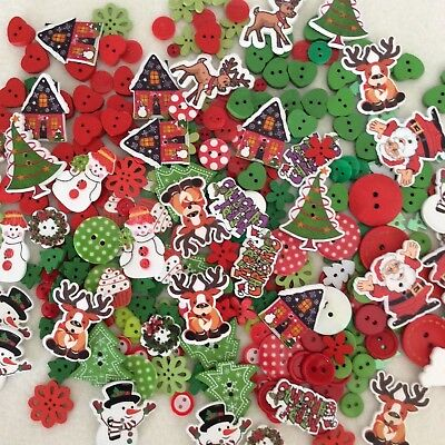 800+ CHRISTMAS THEMED BUTTONS  red, green SANTA TREES WREATHS SNOWMEN REINDEER