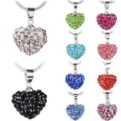 Fashion Women Pendant Jewelry Crystal  Heart Silver Plated Necklace Chain