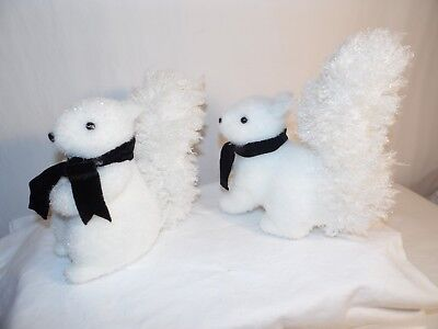 RAZ Imports White Squirrels Black Velvet Ribbon Christmas or Easter Lot Of 2
