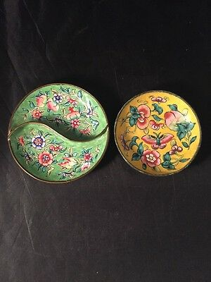 Chinese Canton enamel Vintage dish including sectional example decorated Flowers