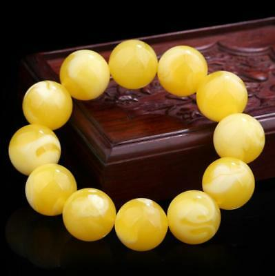 Natural beautiful amber bracelet  fashionable  round beads bracelet22.4