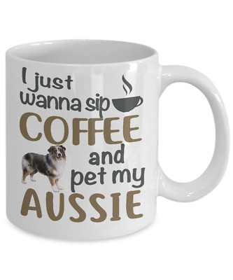 Sip Coffee With My Aussie, Australian Shepherd White Coffee Mug