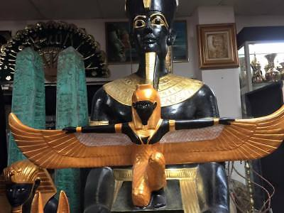 Unique Large Hand Made Egyptian Goddess Isis Statue 38' W X 18'' H Made IN Egypt