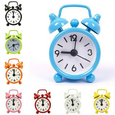 knocking Bell Retro Cute Alarm Clock Round Dial Number Desk Watch Clocks Color