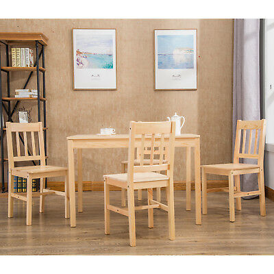 Modern Pine Wood Dining Set w/1 Table and 4 Chairs Kitchen Dining Room Furniture