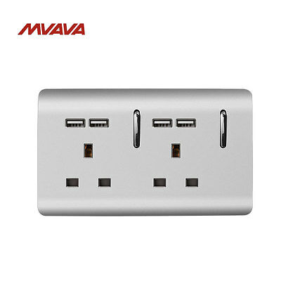 Double UK Wall Plug Socket 2 Gang 13A 4 USB  Charging Ports Outlets Silver Color