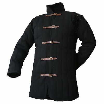 Medieval thick padded Black Gambeson coat Aketon Jacket Armor reenactment SCA ..