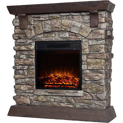 """Polyfiber Electric Fireplace Heater With 38"""" Mantle Faux Stone Adjustable Fire"""