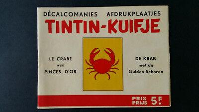 Tintin Kuifje Tim Décalcomanies bilingue +1963 Crabe Pinces Or complet superbe