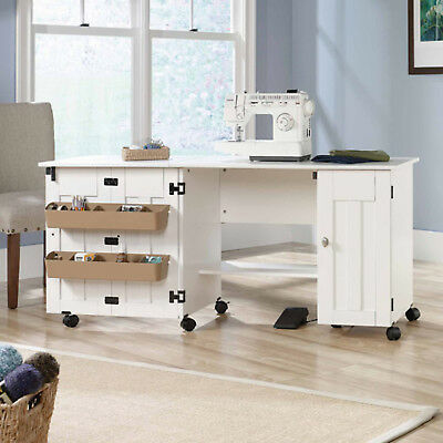 Sewing Table Storage Craft Desk Drop Leaf Cabinet Shelf Sew Work White Sew NEW