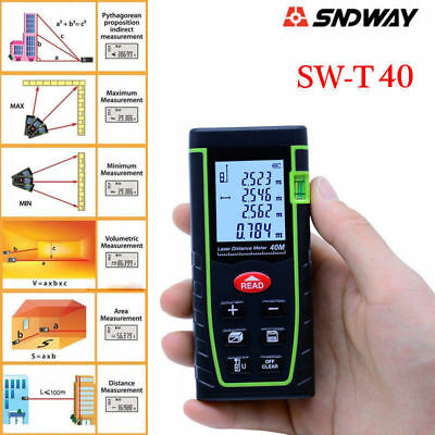 40M/131ft Digital LCD Laser Distance Meter Range Finder Test Diastimeter Tool