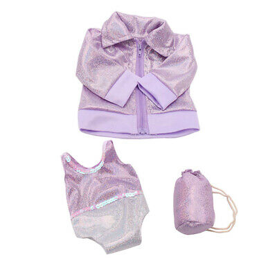 Doll Clothes Purple Swimsuit Set for 18'' American Girl Our Generation Doll