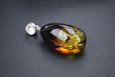 Genuine Natural Baltic Amber Pendant Necklace Ombre Polished Beads Silver Detail