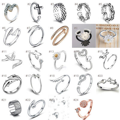 Wholesale Silver Plated Women Fashion Crystal Rings Adjustable Open Size 925