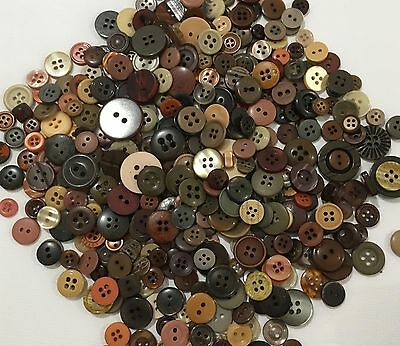 Brown Buttons 100pcs Assorted Shades & Sizes Bulk Lot Aussie Seller
